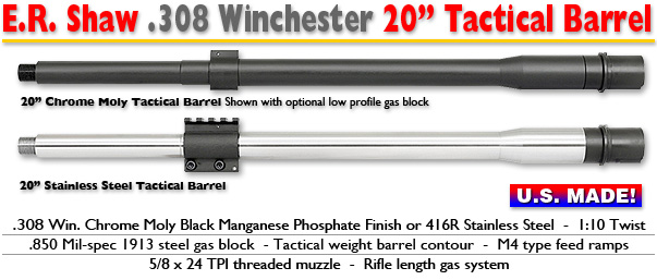 20-inch Tactical .308 Barrels